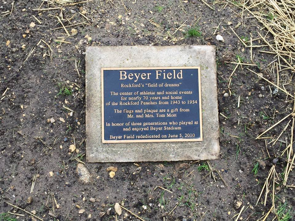The plaque marking the dedication of Beyer Stadium, rededicated in 2010