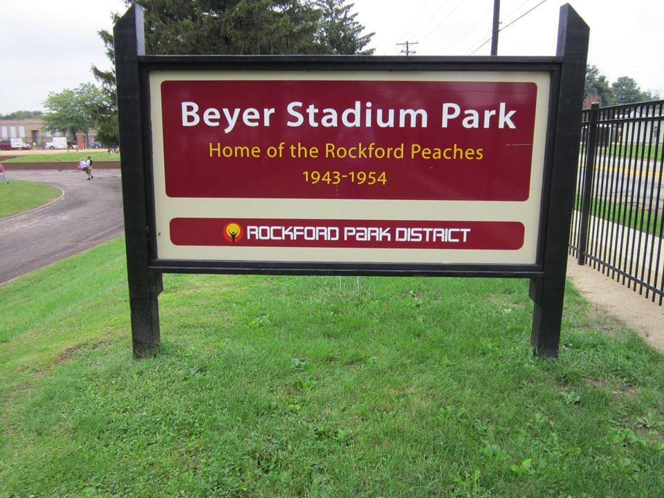 The new sign at Beyer Stadium upon its rededication in August 2015