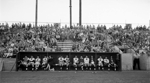 This photo shows Beyer Stadium during a Rockford Peaches game in 1950