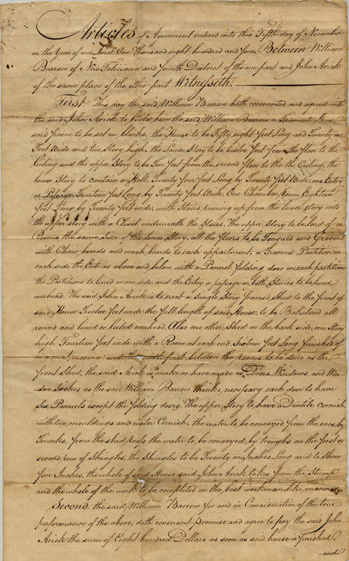 Contract to build Locust Grove/ Highland Plantation