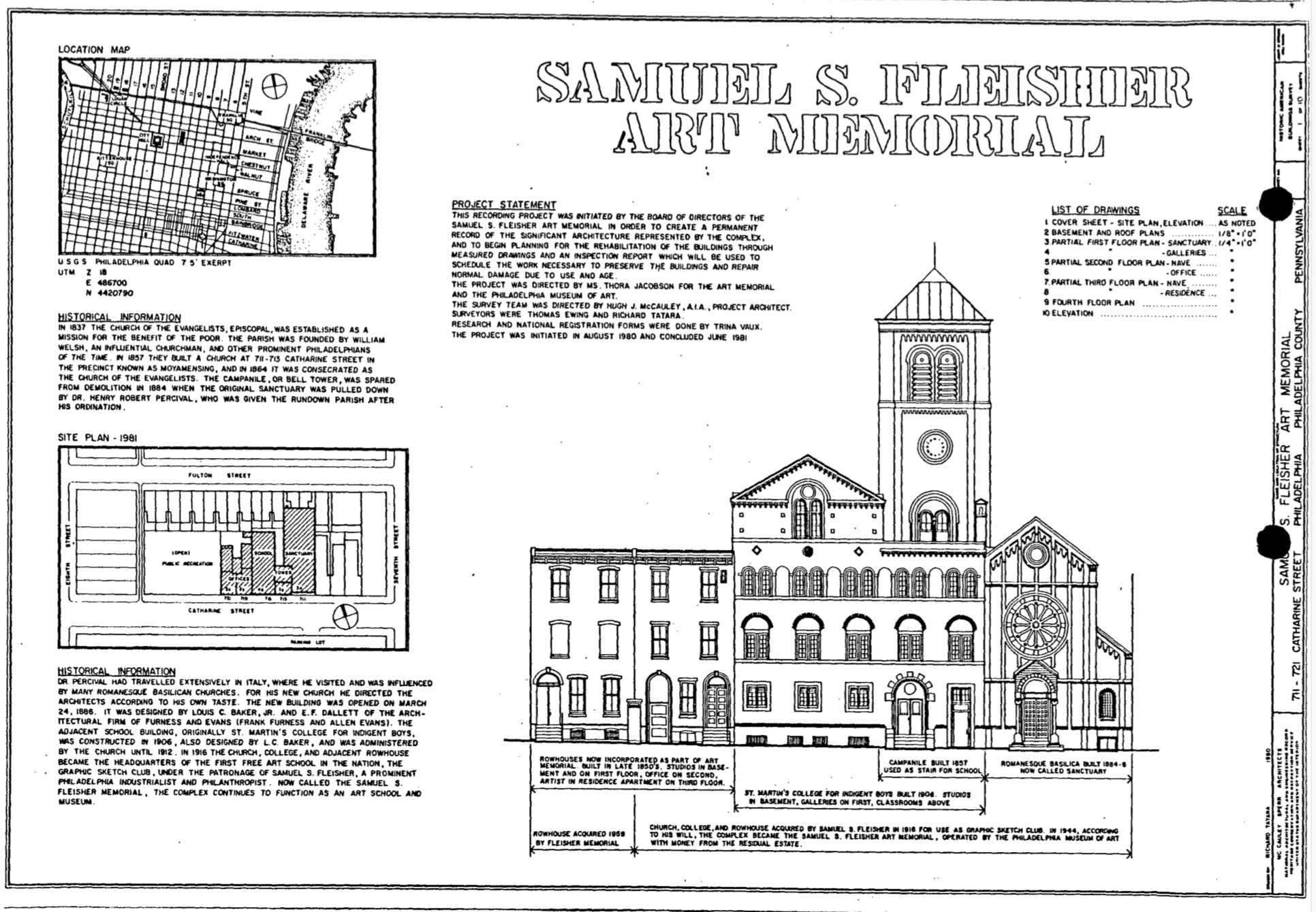 Sketch of the Museum documented in the NRHP Nomination Documents