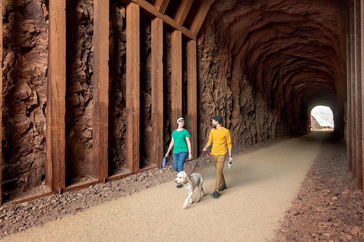 The Historic Railroad Trail was recently resurfaced and is dog friendly. Source: National Park Service.