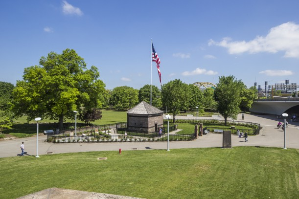 This is a view of the Fort Pitt Block House along with the Edith Ammon Memorial Garden that surrounds it. As you can see it is a beautiful area that is accessible to the public.