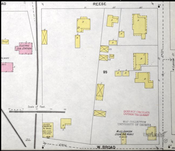 Sanborn Fire Insurance Map showing the site of the Dyeworks