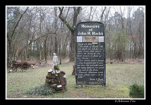 The battle took place on a sawmill and flour mill first founded by John H. Marks in 1834.