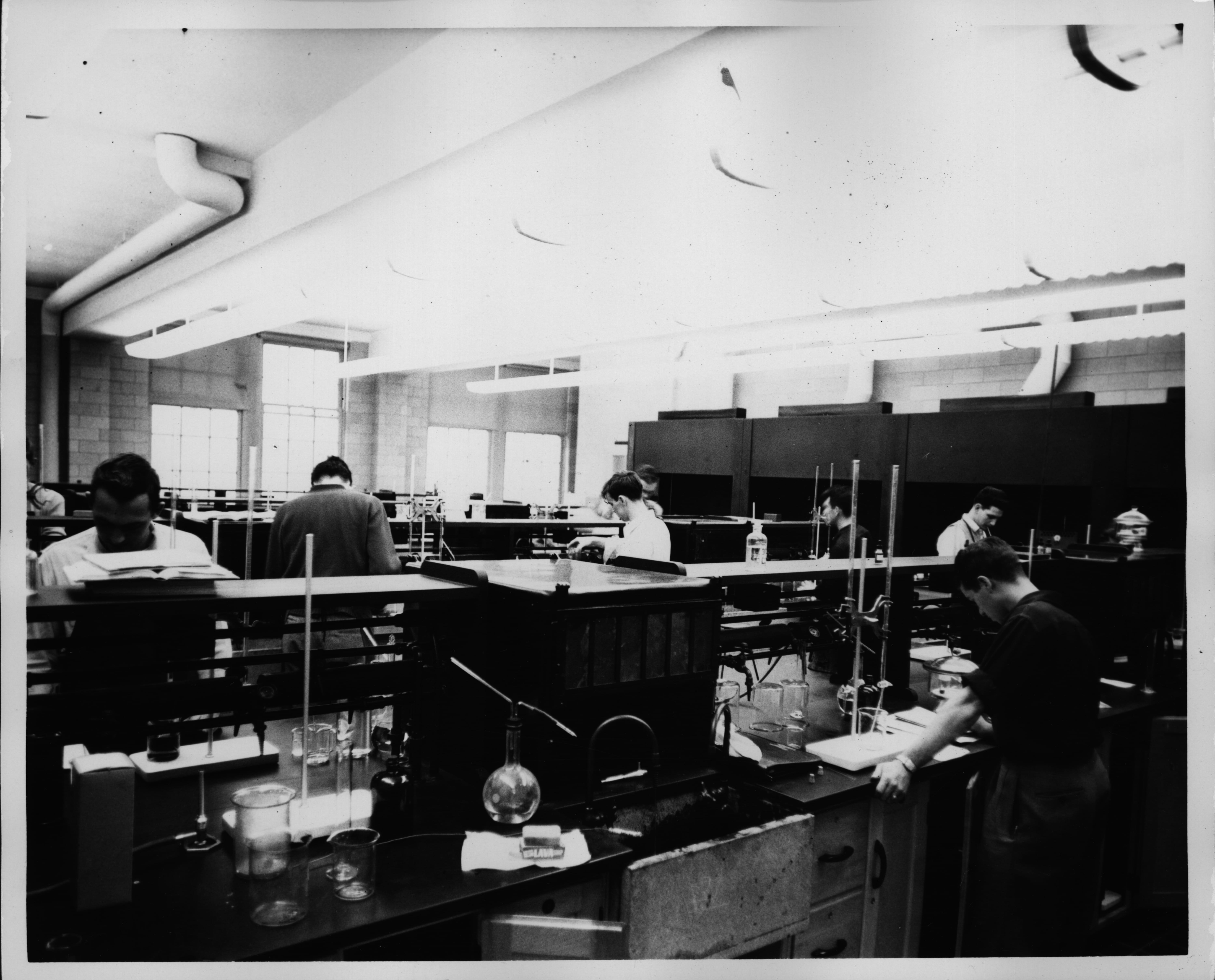 A chemistry lab in 1950. At the time of its opening the Science Building featured state-of-the-art laboratories and other scientific facilities.