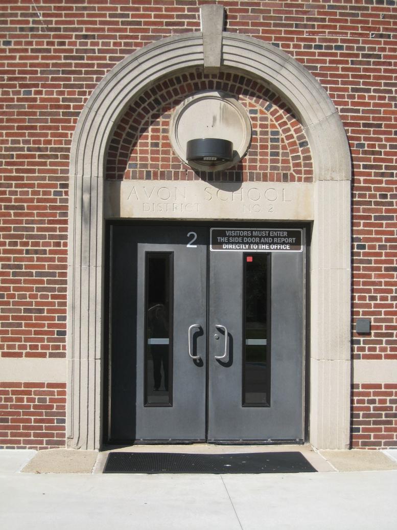 Avon School, main entrance in east elevation, 2020