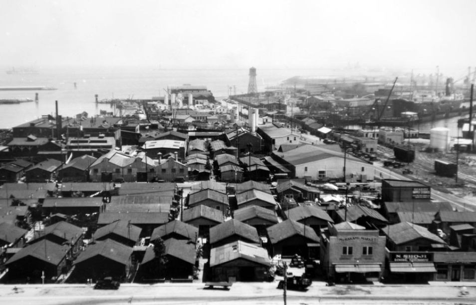 "Aerial of ""Furusato"", the fishing village at Terminal Island. Courtesy of San Pedro Bay Historical Society."
