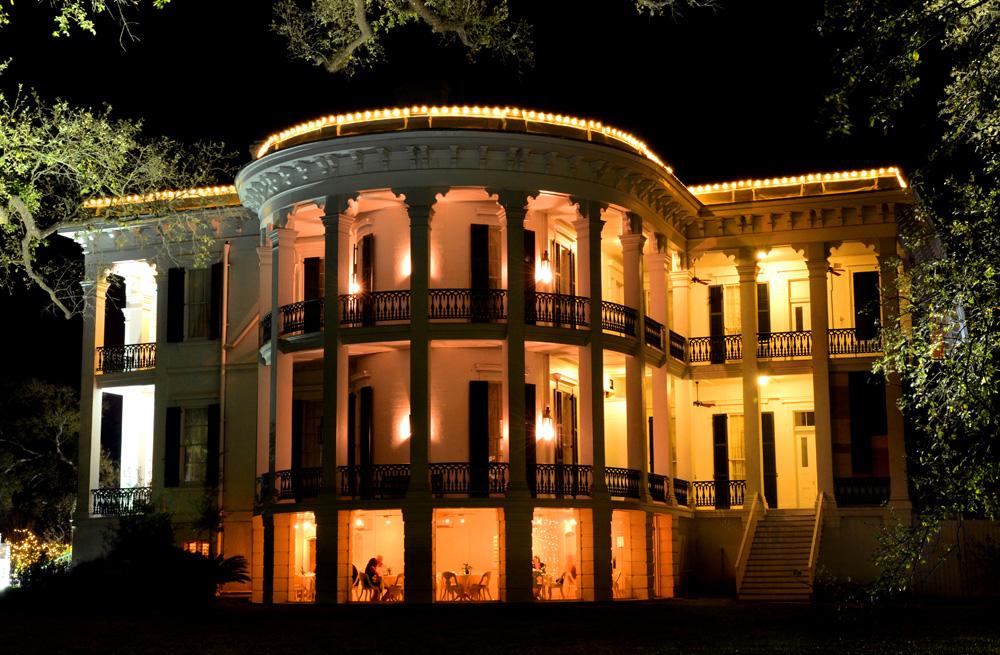 North Rotunda at night. Credit: Nottoway Plantation
