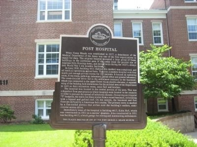 The Plaque outside of the Post Hospital that lists the history.