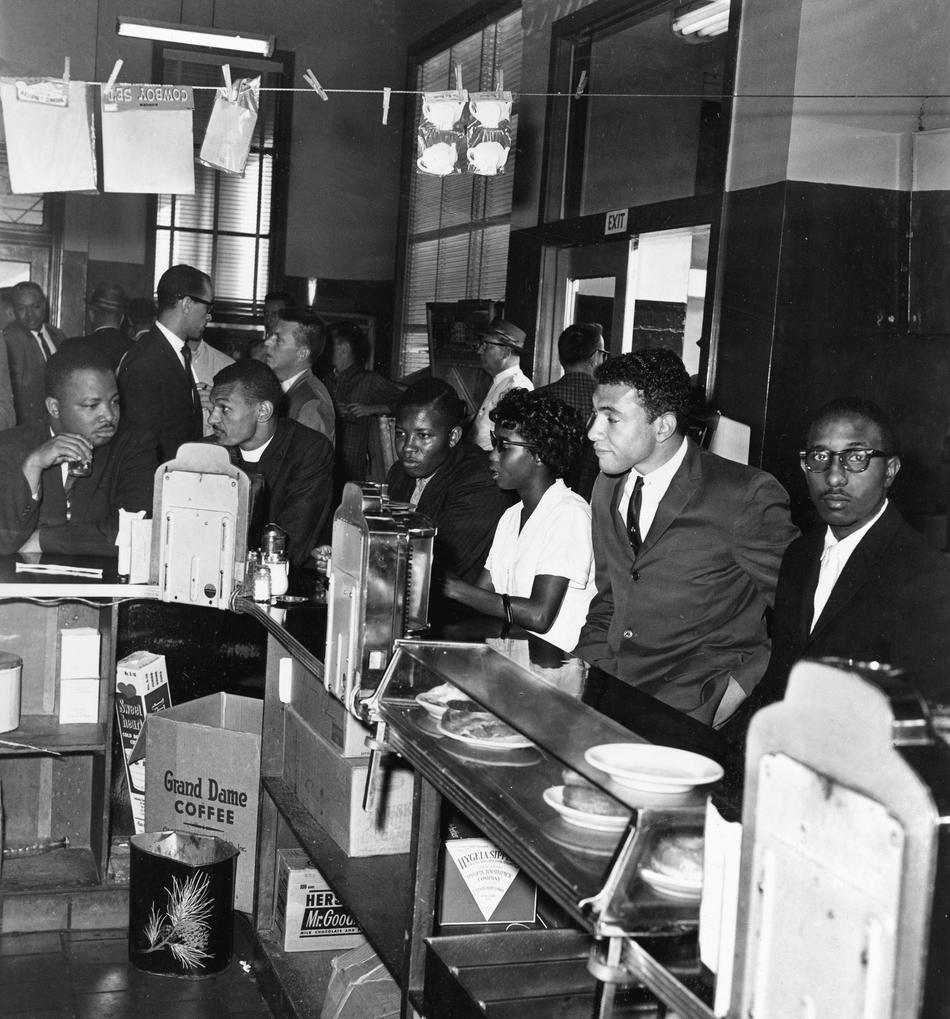 Black Freedom Riders have breakfast at a lunch counter in the bus station in Montgomery, Ala., on May 24, 1961. It was the first time the eating facilities were used by Black travelers. The group was preparing to board buses bound for Jackson, Miss.
