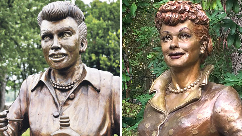 "A side-by-side comparison of the two statues of Lucille Ball, nicknamed ""Scary Lucy"" and ""Lovable Lucille"" respectively."