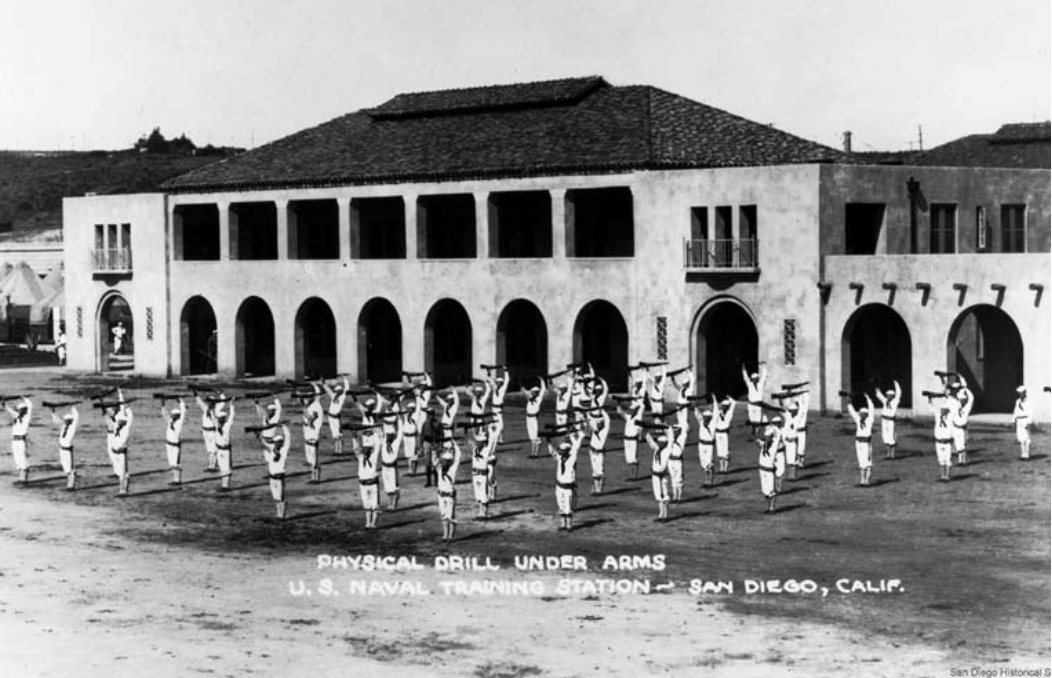 The Naval Station as it once appeared. Conceived as part of America's naval expansion during WW1 and built in 1921, it was decommissioned in 1997 and is in the process of being redeveloped as a mixed-use space. (San Diego Historical Society)