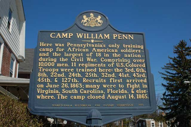 Camp William Penn was created in June of 1863 and was the first and biggest military training camp for African American troops in the country.