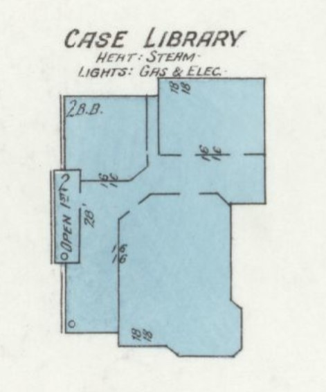 Case Library on 1912 Sanborn map of Baker University campus (p. 1)