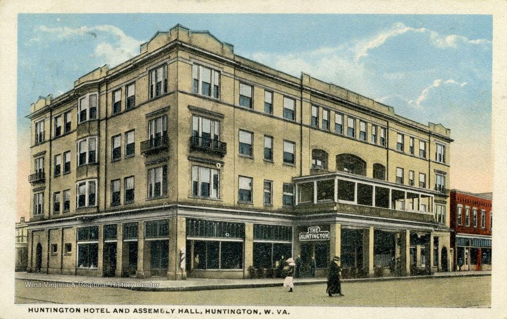 Postcard of the Hotel Huntington and Assembly Hall, circa 1917