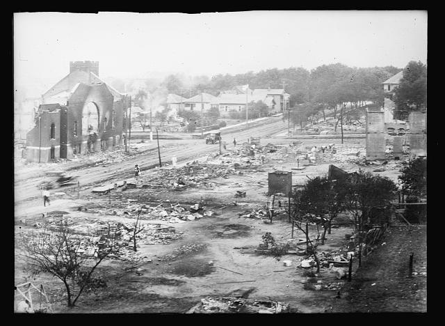 A view of the destruction.