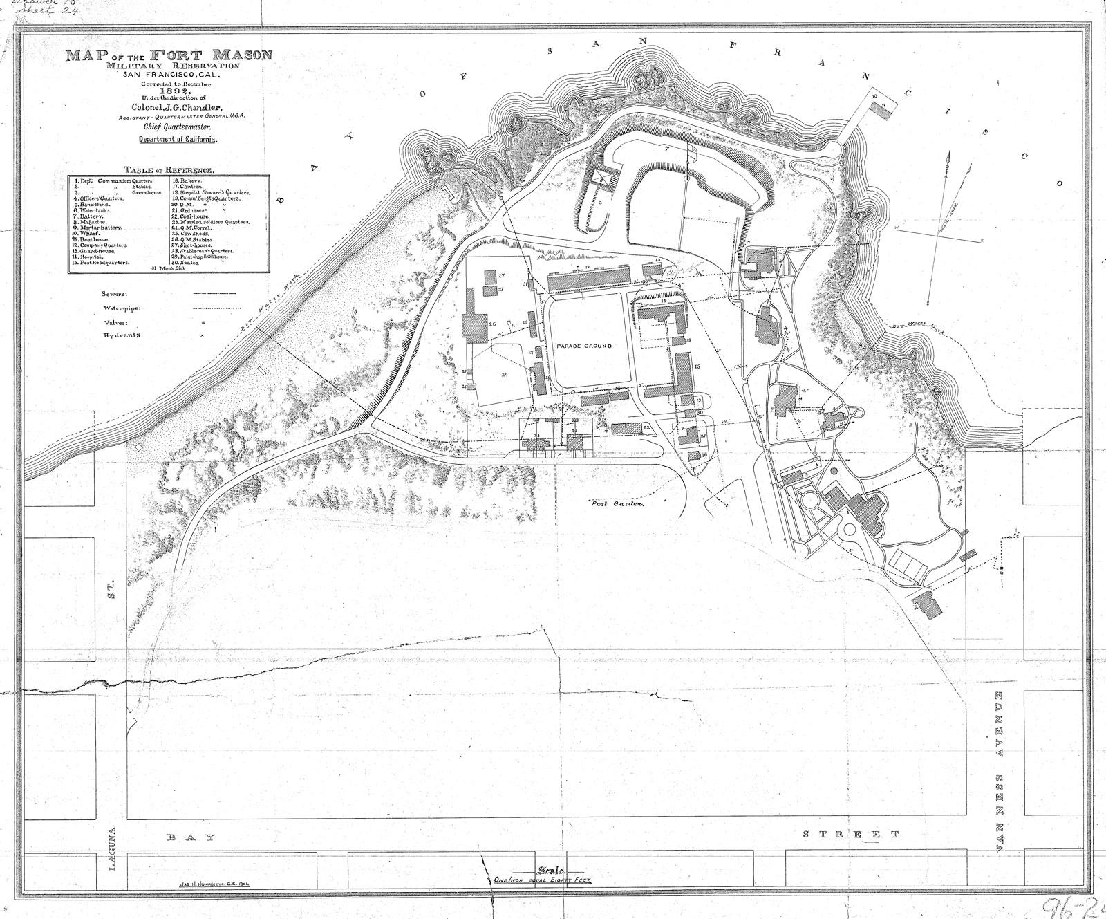 Map layout of Fort Mason