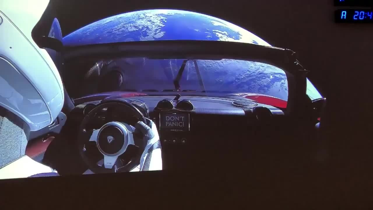 """Starman"" the mannequin that is sitting in the Telsa Roadster that was launched into space"