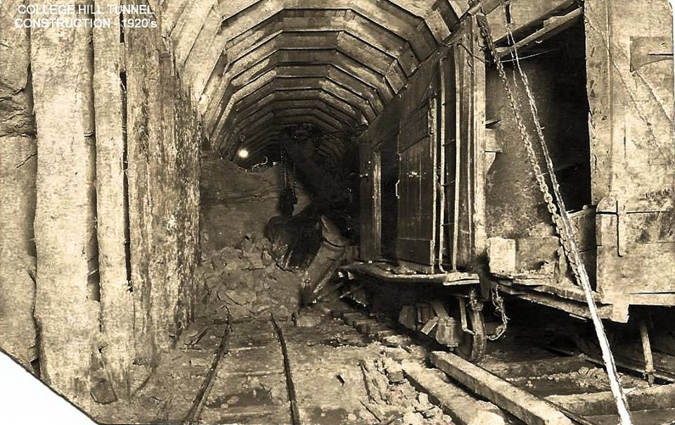 College Hill Train Tunnel 1920 - photo credit St.. Albans Historical Society
