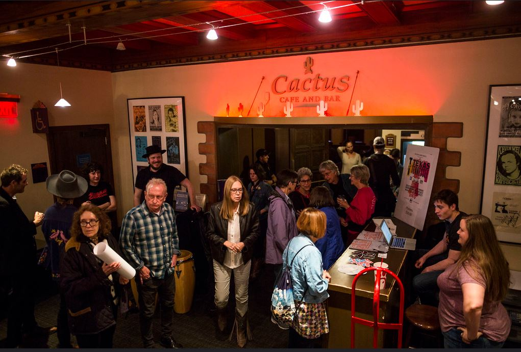 The entrance of the Cactus Cafe on a crowded evening