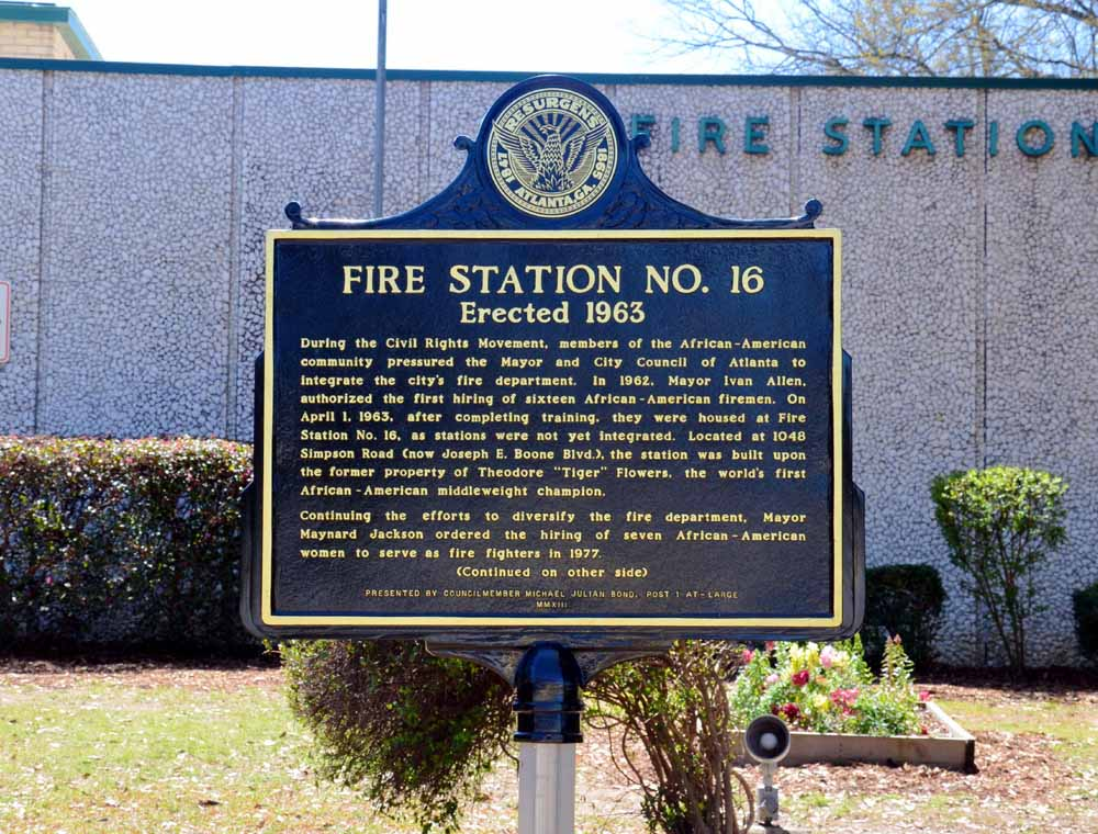 Front of the marker that honors the first male and female African American firefighters in Atlanta, Georgia. These men and women were persistent in the pursuit of desegregation and equal rights.