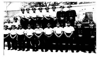 The First 16 African American male firefighters on the day they are hired to work at Fire Station 16. You can see them with the supervisors who were still held by white males.