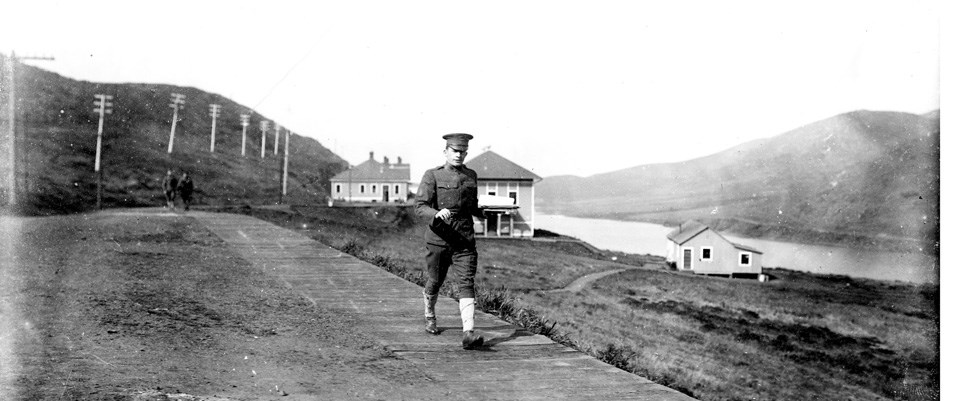 U.S. Army soldier walking through Fort Barry, circa 1910