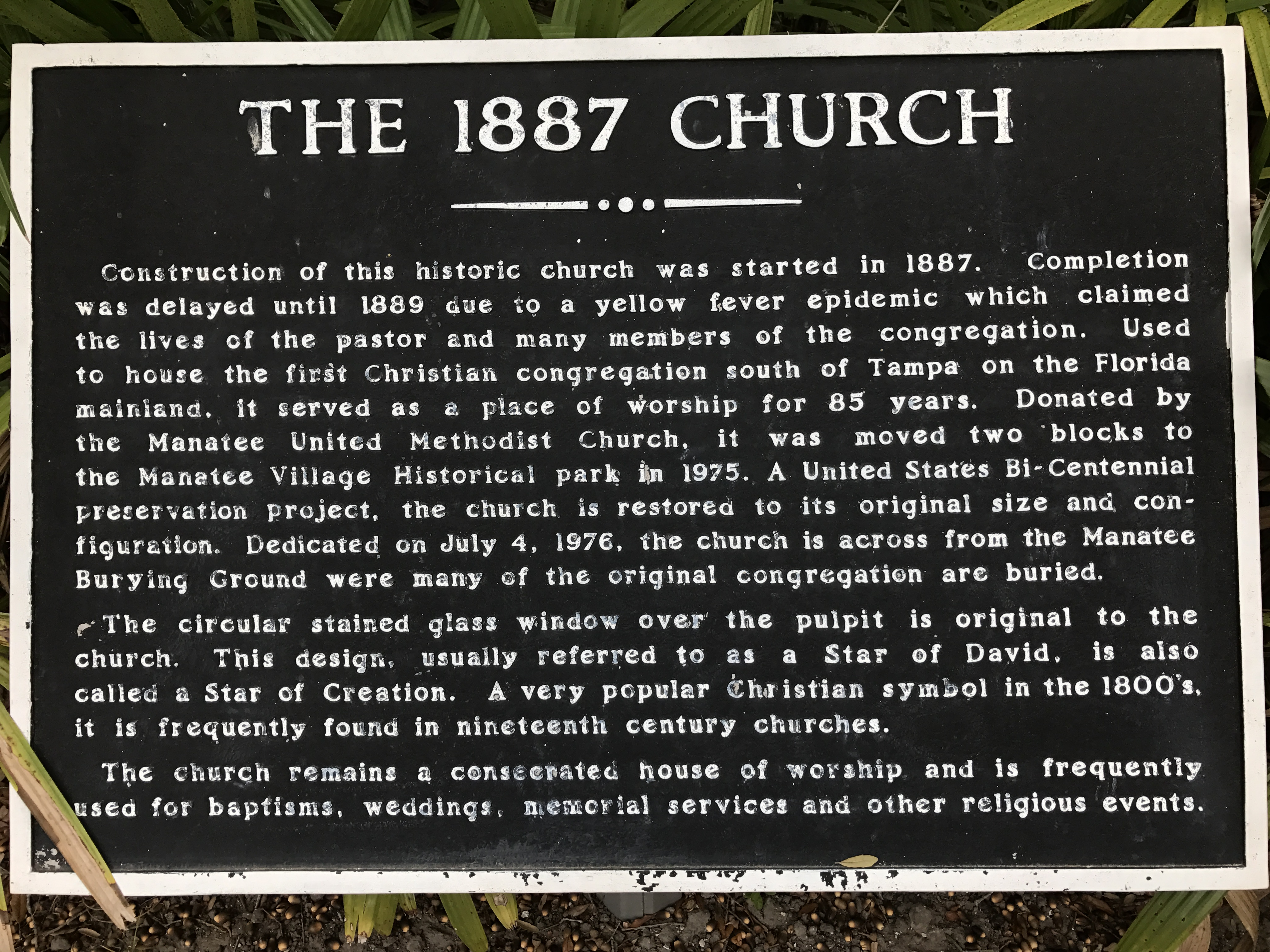 1887 Church Historical Marker