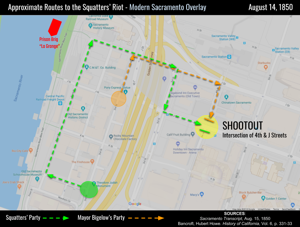 A sketch of the approximate route taken by both parties to the site of the August 14 shootout, showing their paths on modern Sacramento streets. After the shootout, city militia gathered at a headquarters near the present Sacramento History Museum.