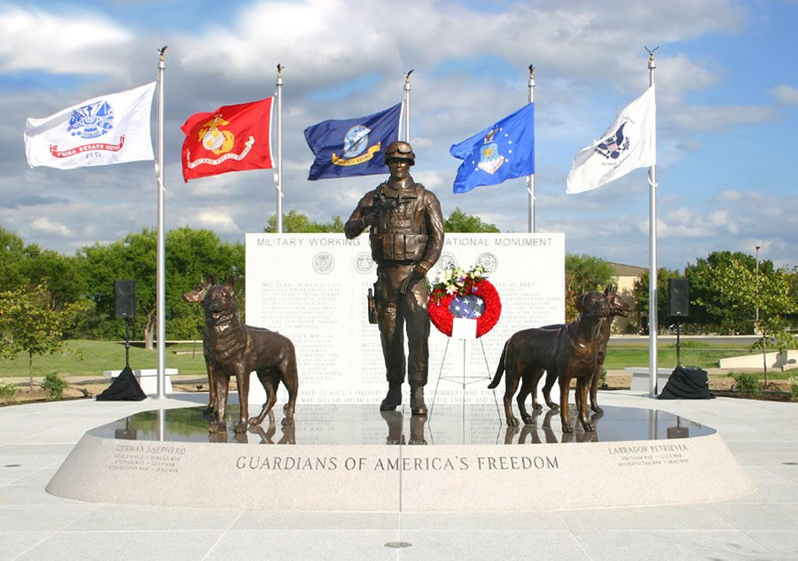Photo of the Military Working Dog Teams National Monument at Lackland Air Force base in San Antonio, Texas.