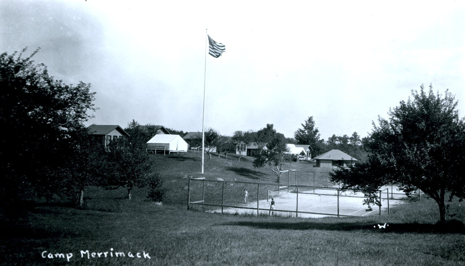 Postcard image of tennis courts at Camp Merrimack located in Hopkinton, N.H.