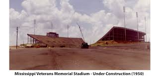 Mississippi Veterans Memorial Stadium under construction in 1950