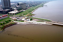 The southern terminus of the Causeway, featuring New Orleans behind it.