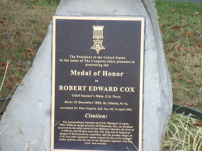 Bronze plaque of Medal of Honor Robert Edward Cox.