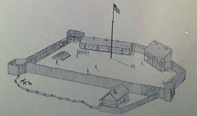 A drawing of what Fort Knox looked like during the War of 1812.