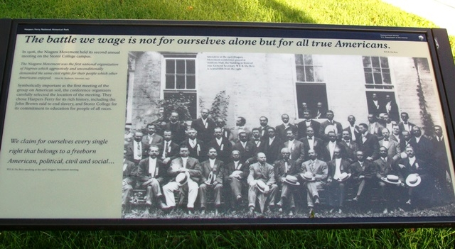 "A second historical marker includes a photo of attendees. ""We claim for ourselves every single right that belongs to a freeborn American, political, civil and social…""-W.E.B. Du Bois"