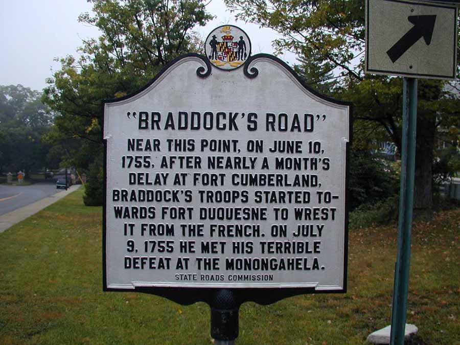 Braddock's Road marker that explains the historical background.