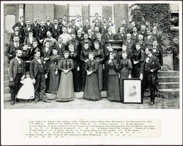 Photo of the hospital and staff in 1873