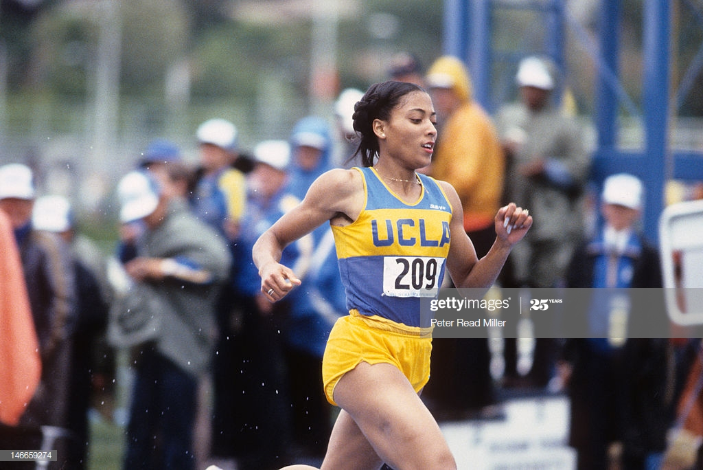 Peter Read Miller and Sports Illustrated with Getty Images capture Florence Griffith running 200 meter dash at 1982 NCAA Division 1 T&F Championship