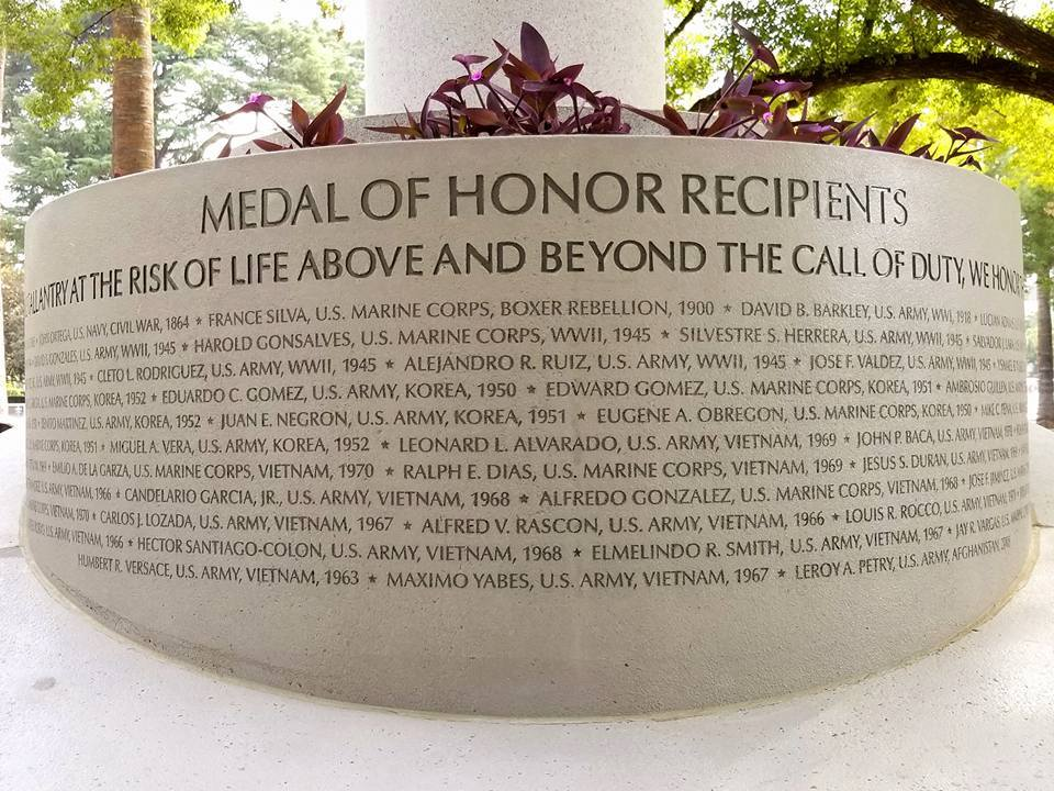 The statue's new base features the names of all Mexican American Medal of Honor recipients, dating back to the Civil War (official Facebook page).
