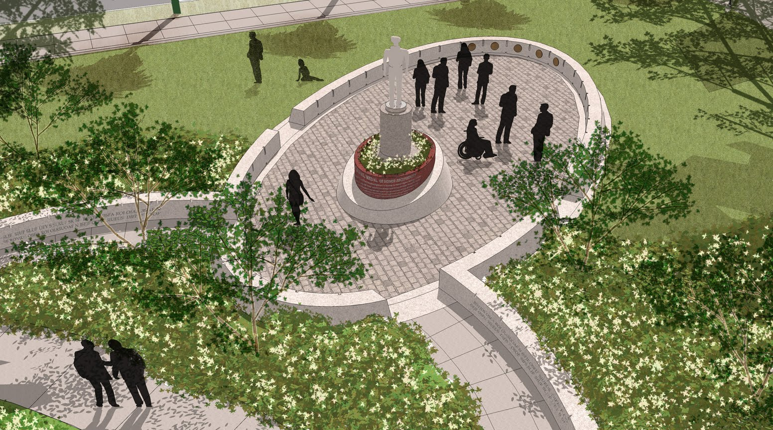 Design firm Quadriga's rendering of the final memorial plaza. Funds are still being raised for the surrounding gardens.