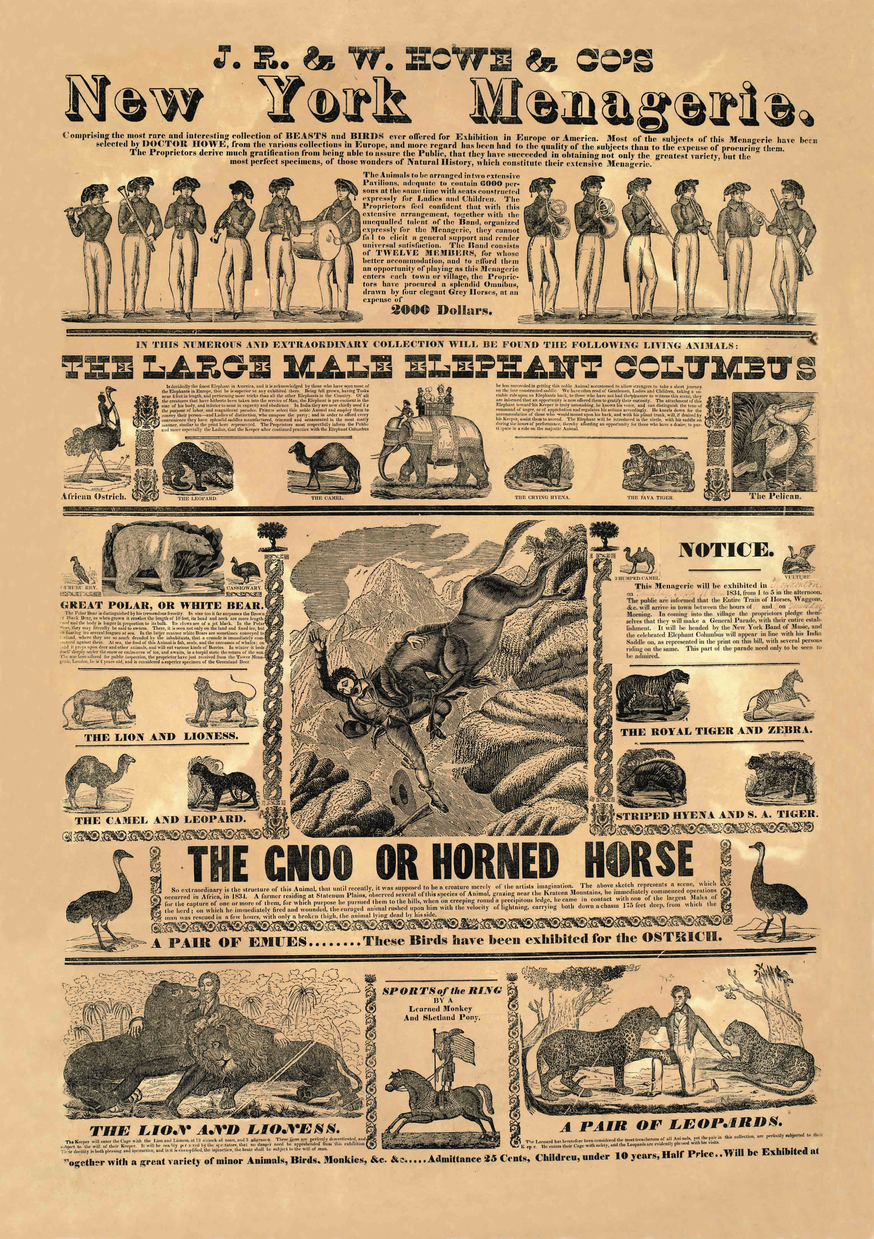 Poster for J.R. & W. Howe & Co.'s New York Menagerie, 1834