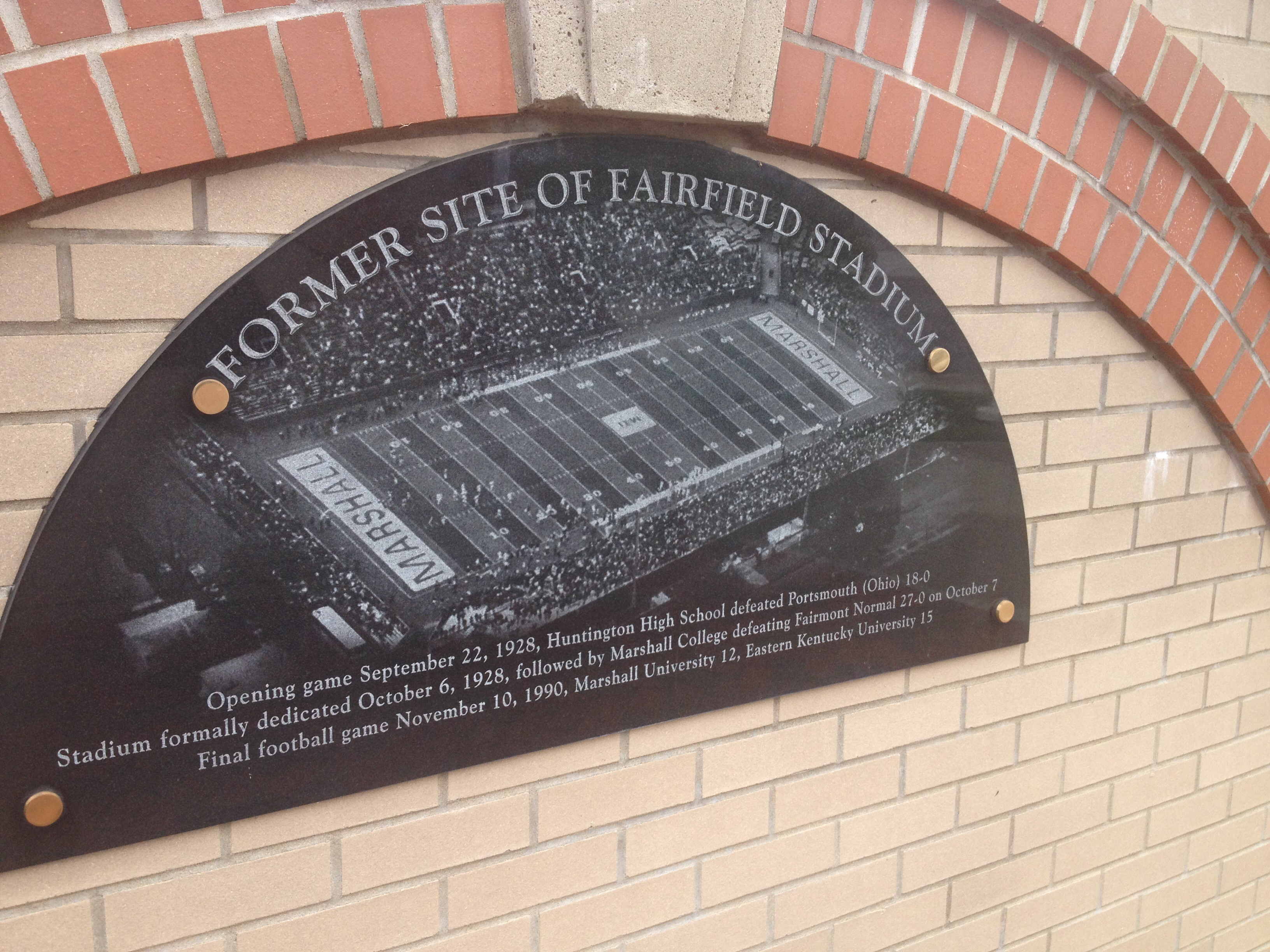 This plaque commemorates the former Fairfield Stadium.