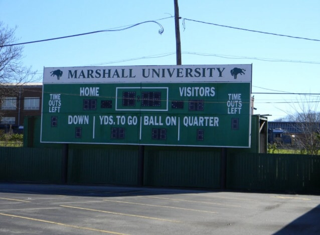 Fairfield Stadium's scoreboard is located downtown at the original Gino's Pub. At night, it shows the score of Marshall's win over Xavier in 1971-the team's first win after the 1970 plane crash.