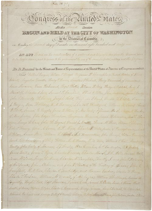 The Pacific Railway Act of 1862, from the Library of Congress.