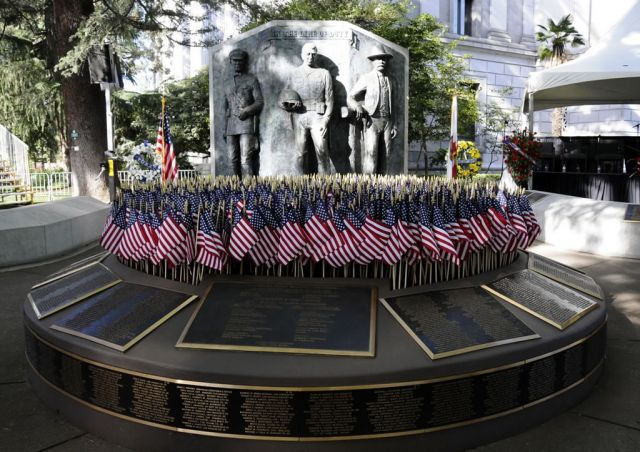 The memorial as it often appears when decorated for California Peace Officers' Memorial Day.
