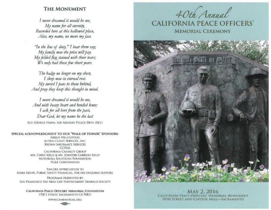 Excerpt from the program of the 40th Annual California Peace Officers' Memorial Ceremony in 2016. Gov. Jerry Brown signed this day into state law in 1976.