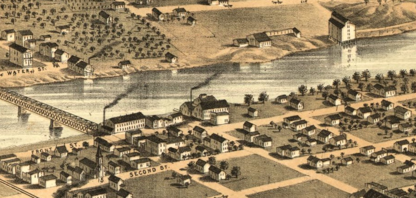 Des Moines waterfront in 1868; future Municipal Bldg. site on Locust St., first street north of bridge (Ruger)