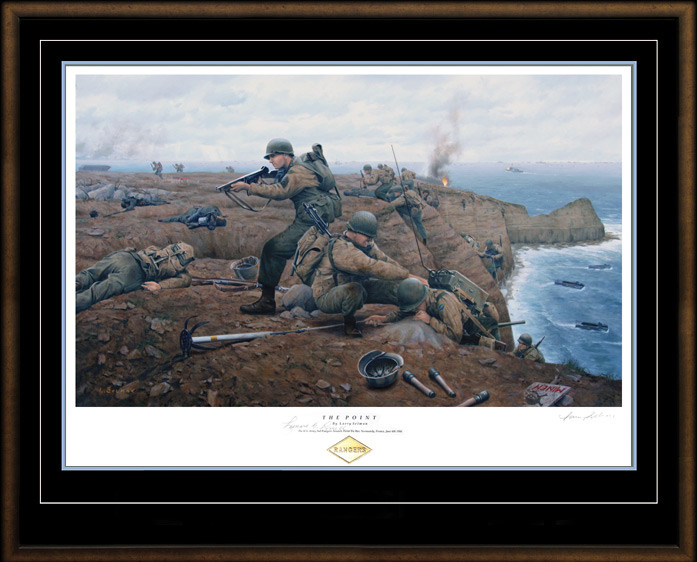 A painting depicting Leonard Lomell and his men shooting and climbing up on top of the cliff at Pointe du Hoc.